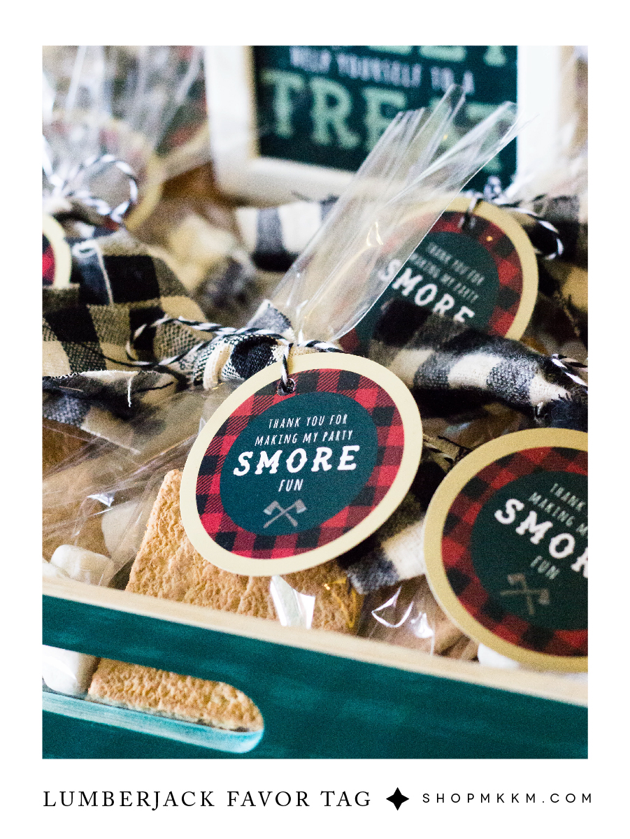 Lumberjack themed s'mores party printable freebie. Grab the free printable and some rustic party inspiration at shopmkkm.com