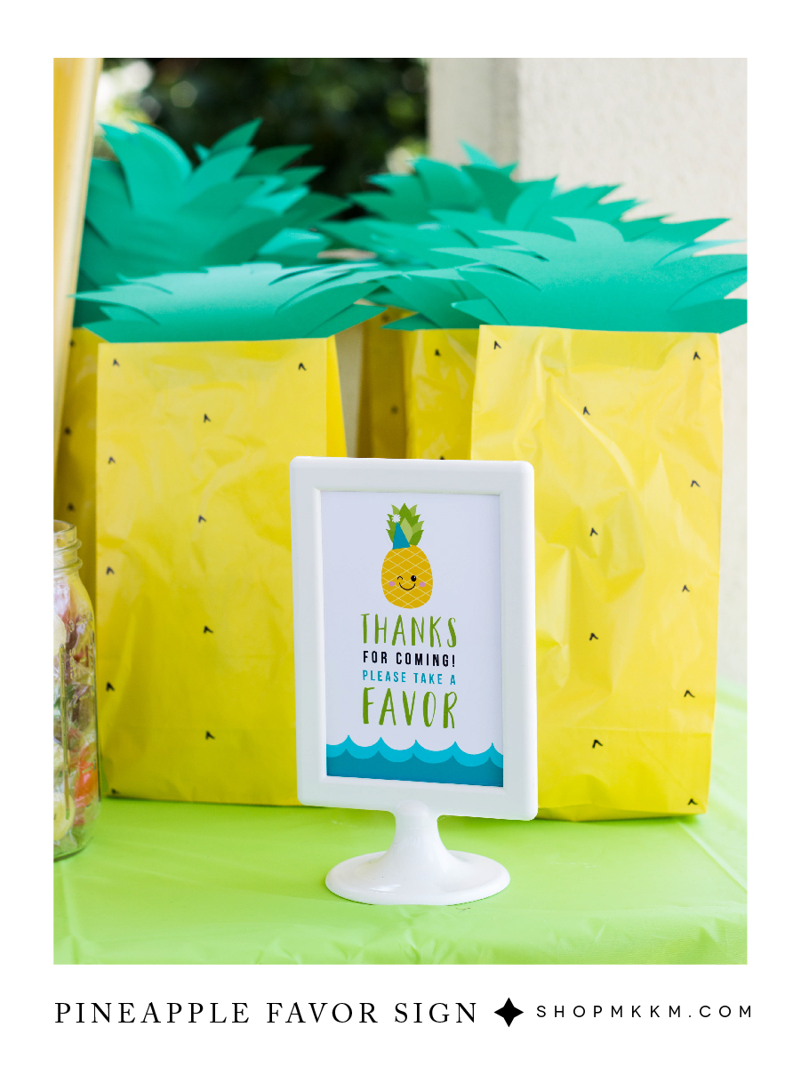 Pineapple Party free printable favor sign from mkkmdesigns.com