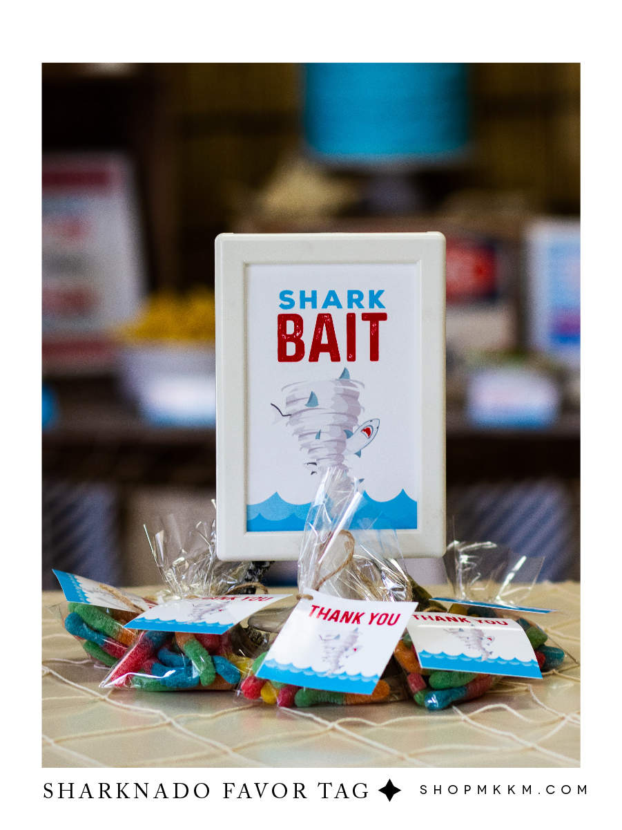 Shark Bait favor sign and favor tags free printables for a sharknado themed birthday party // mkkmdesigns.com