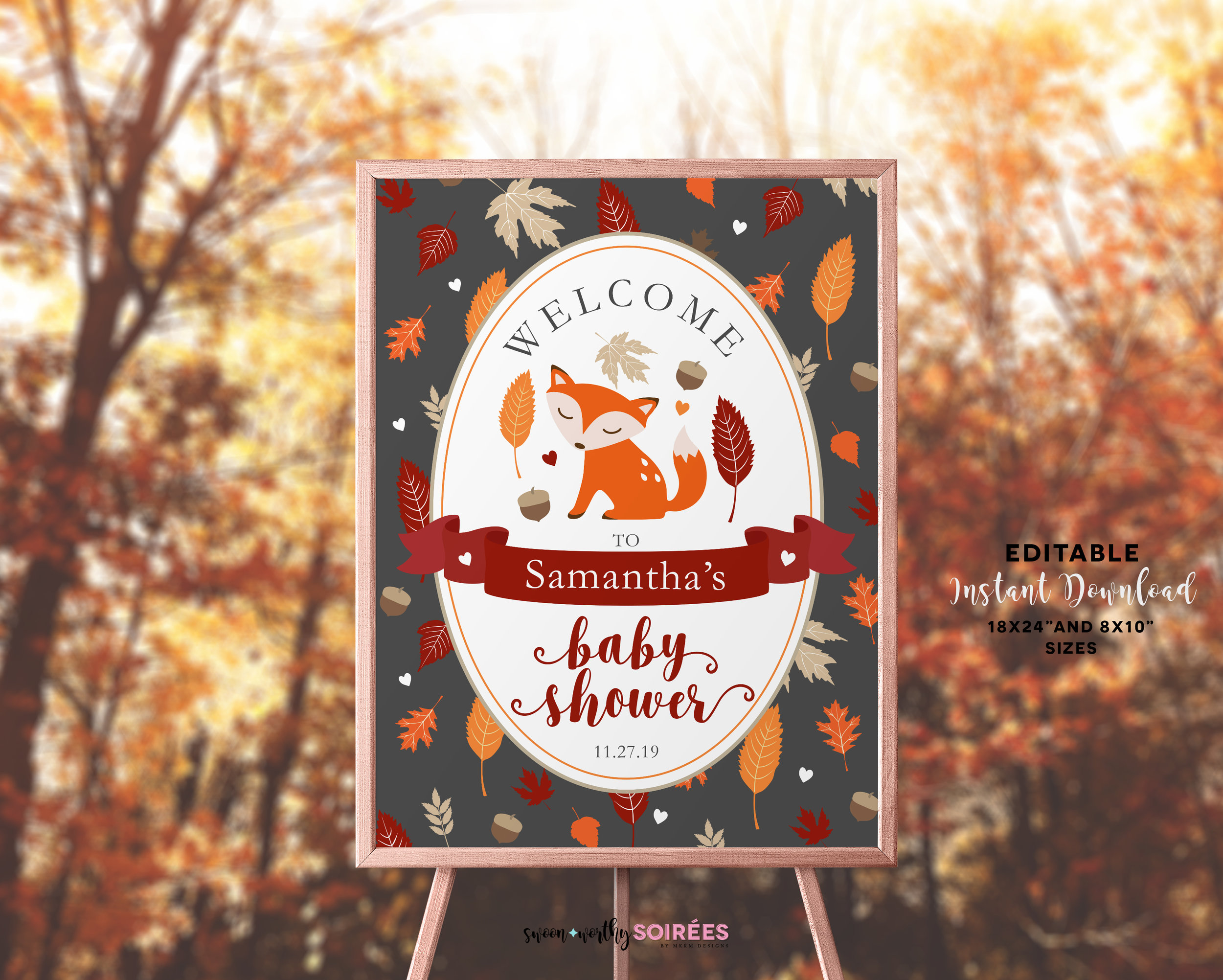 Fox baby shower welcome sign.