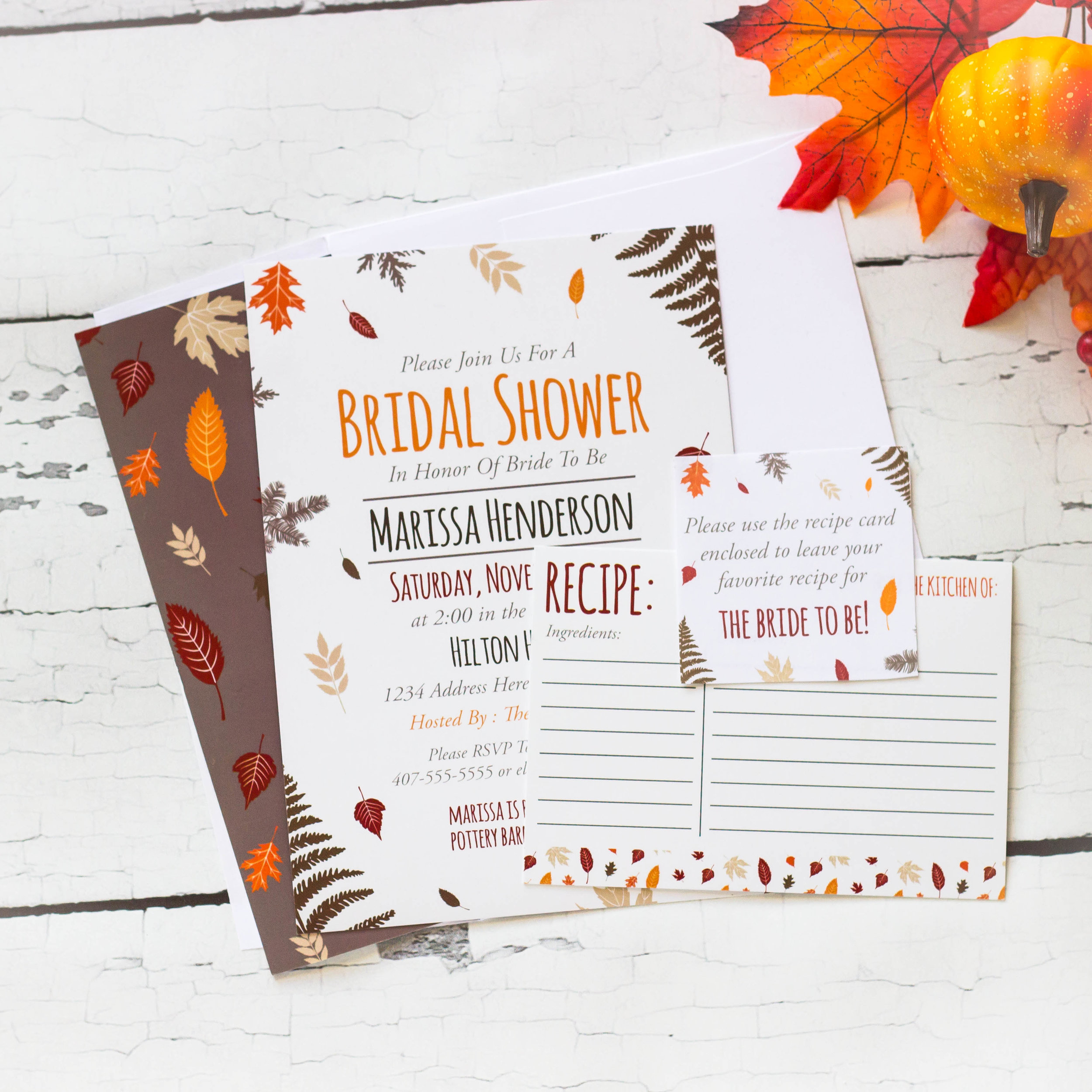 Fall bridal shower invitation sets from mkkmdesigns.com