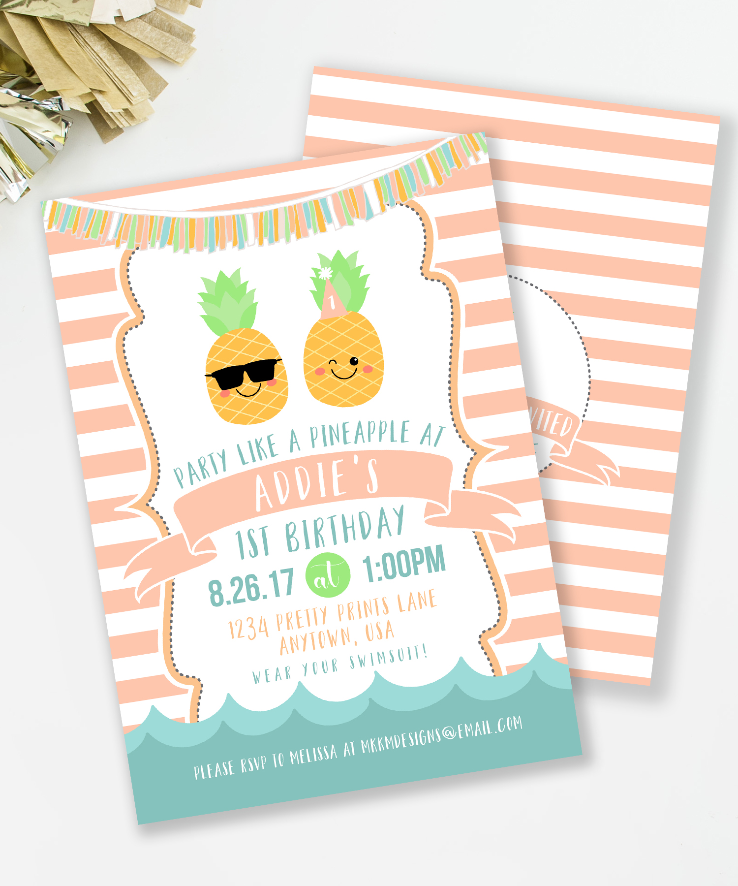 Pineapple Party Invitation from MKKM Designs