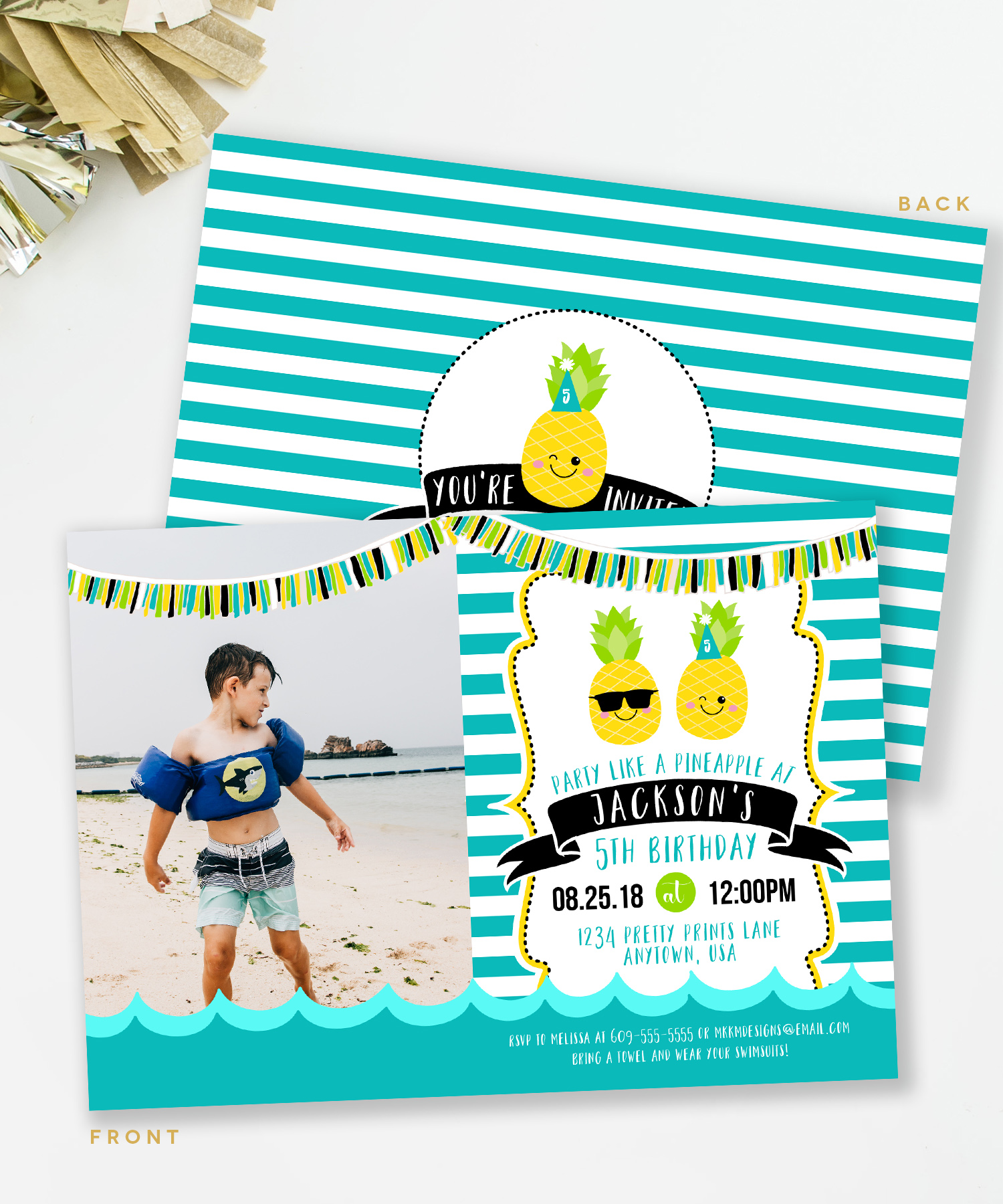 Pineapple party invites from mkkmdesigns