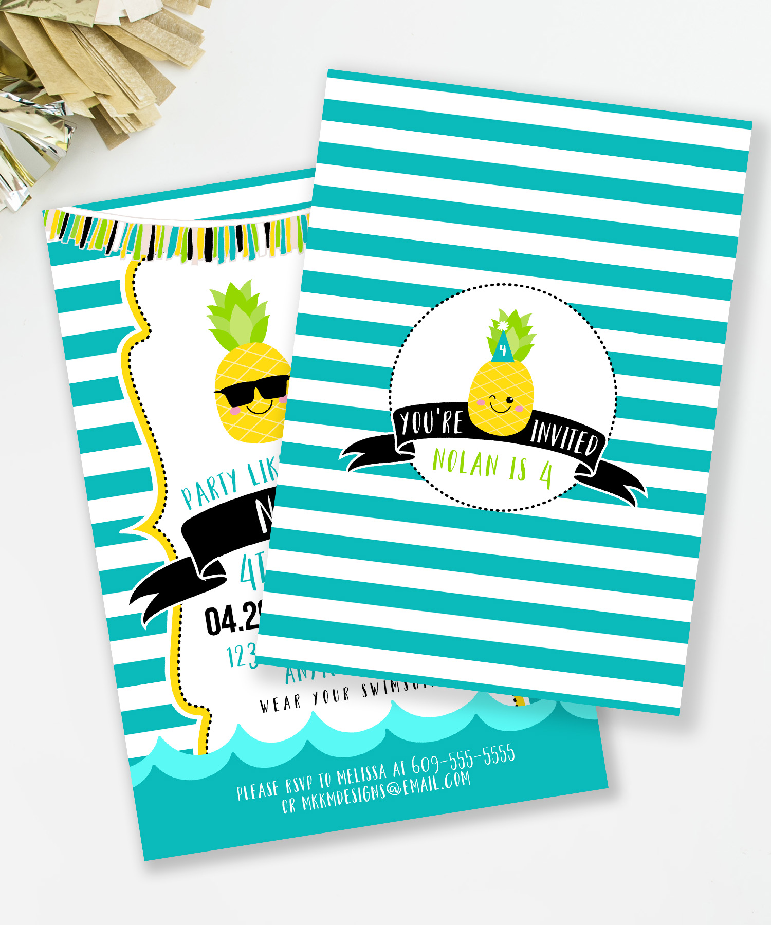 Pineapple party invitations from MKKM Designs