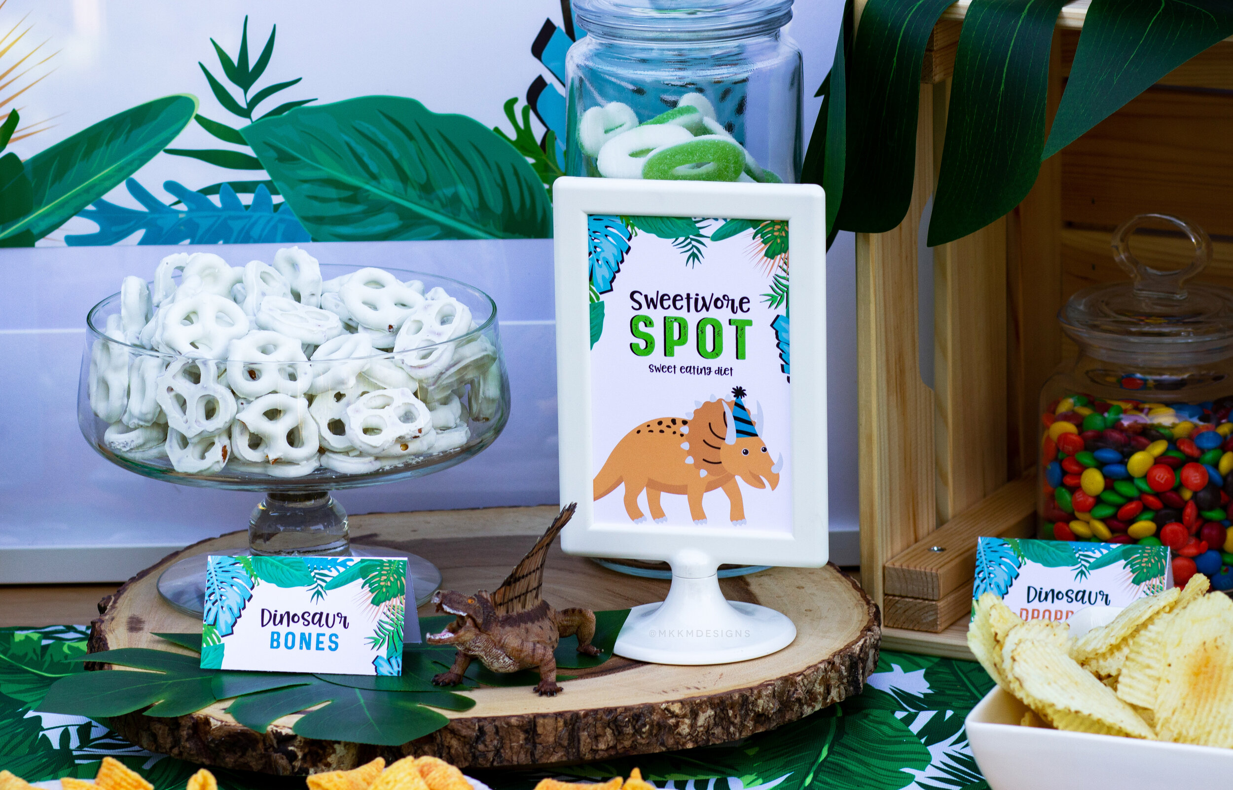 Sweetivore dino party sign. This dessert table sign is a fun additional to setting up a candy station. Designed by MKKMDesigns
