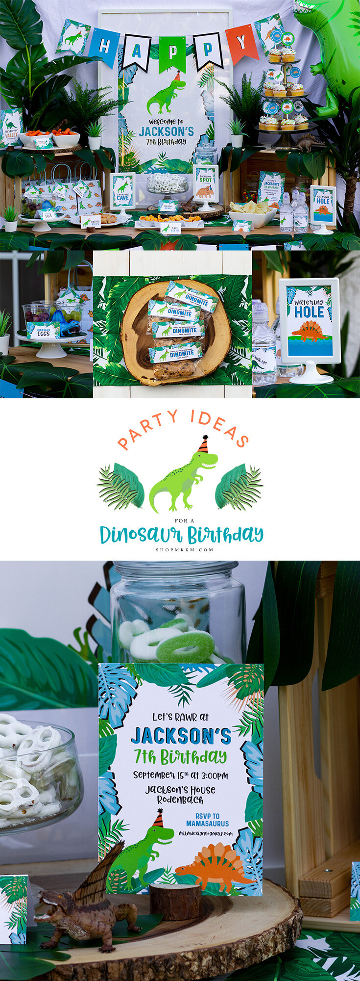 Freebies, decor ideas and dinosaur party planning over on shopmkkm.com