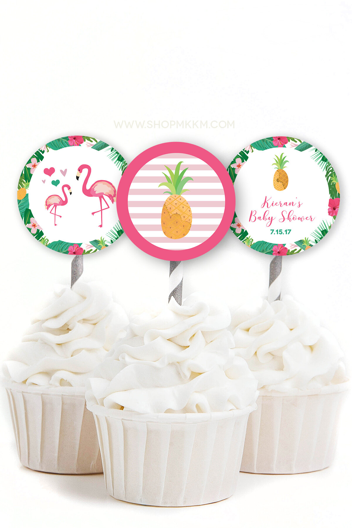 Flamingo Cupcake Toppers from mkkmdesigns.com