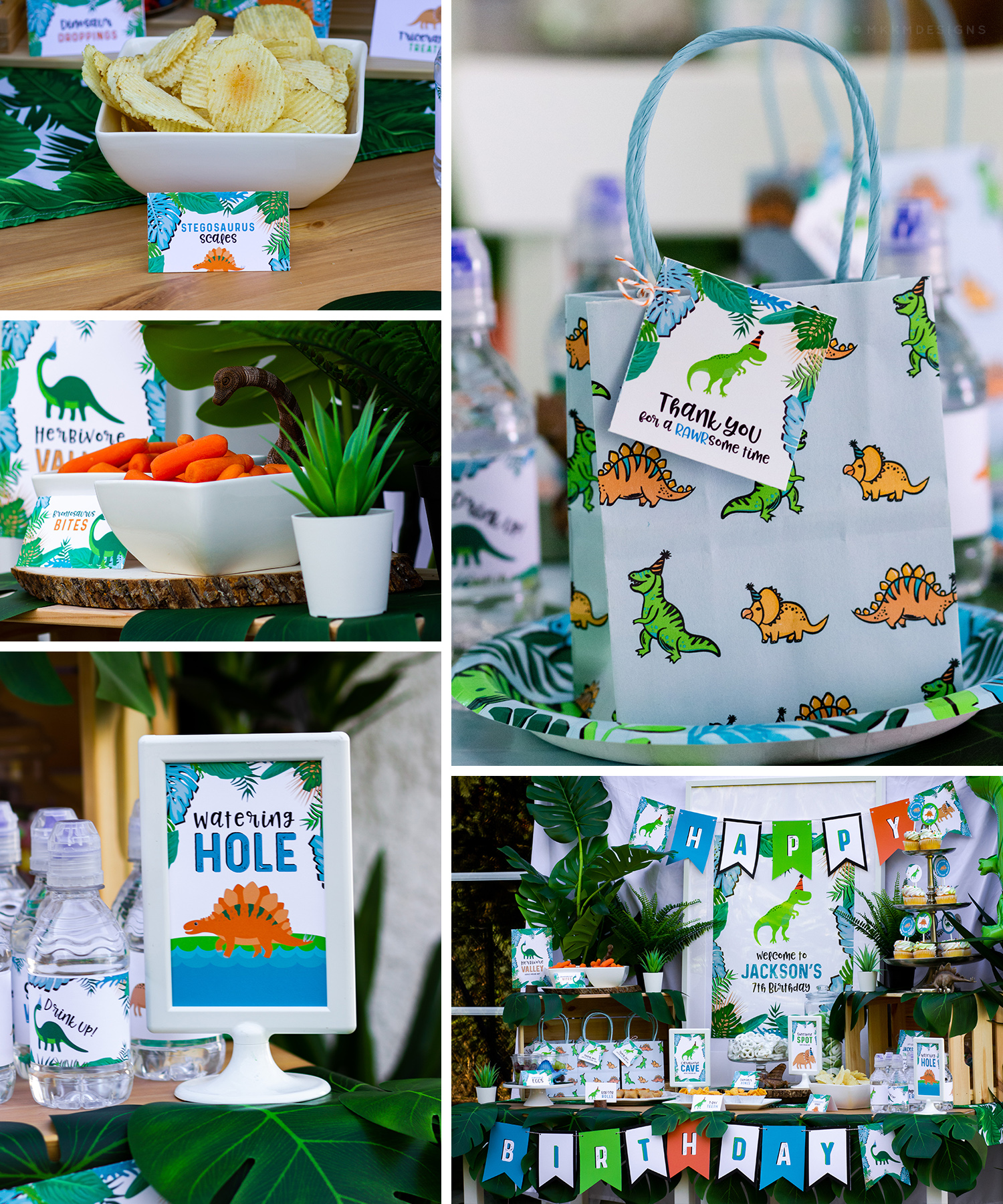 Stomp and roar at a bright tropical dinosaur party. Check out all of the party photos and get free printable goodie bag toppers. // mkkmdesigns