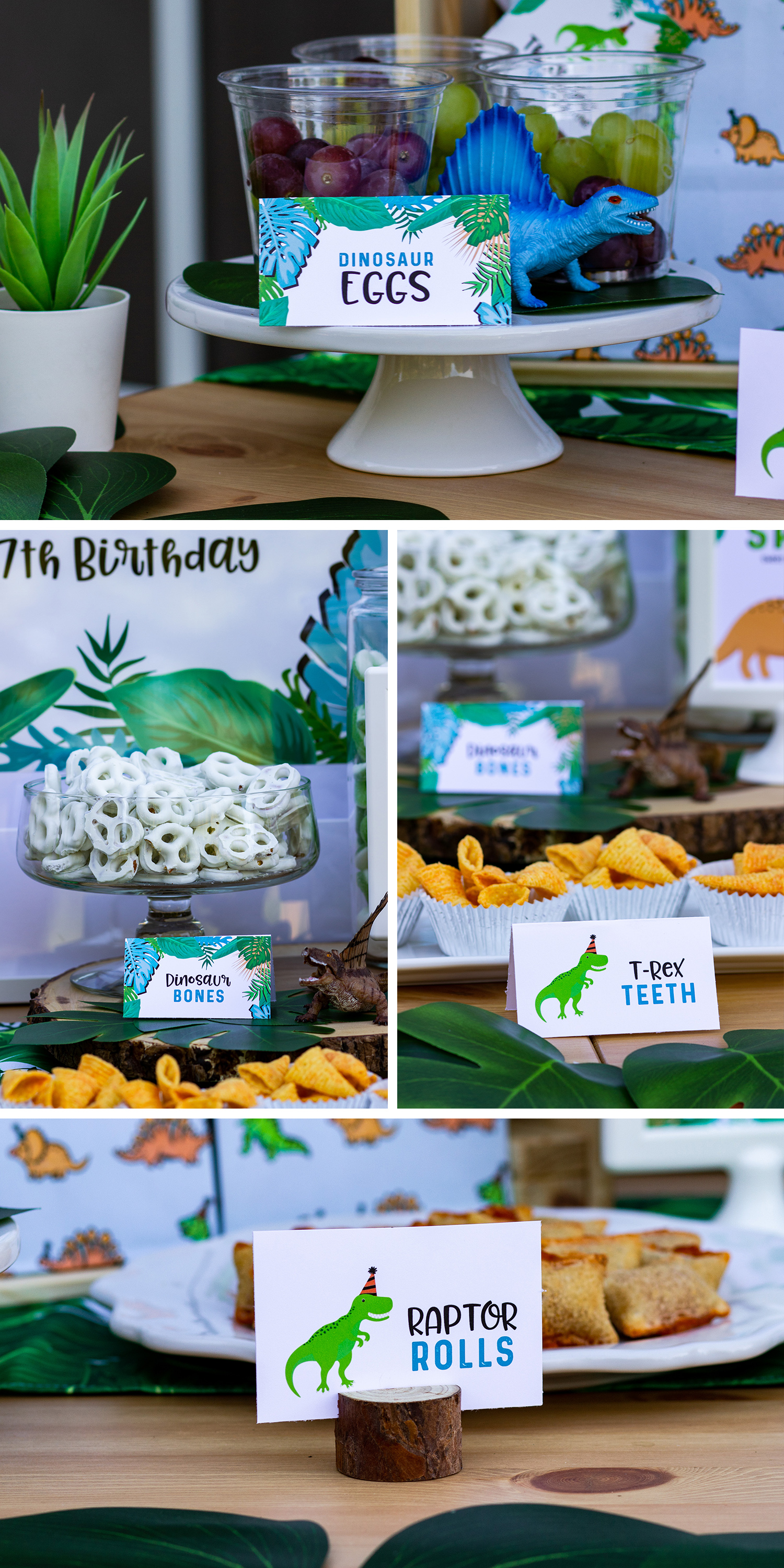 Dinosaur food cards - Check out the printables and get inspired for your own dinosaur party at mkkmdesigns.com