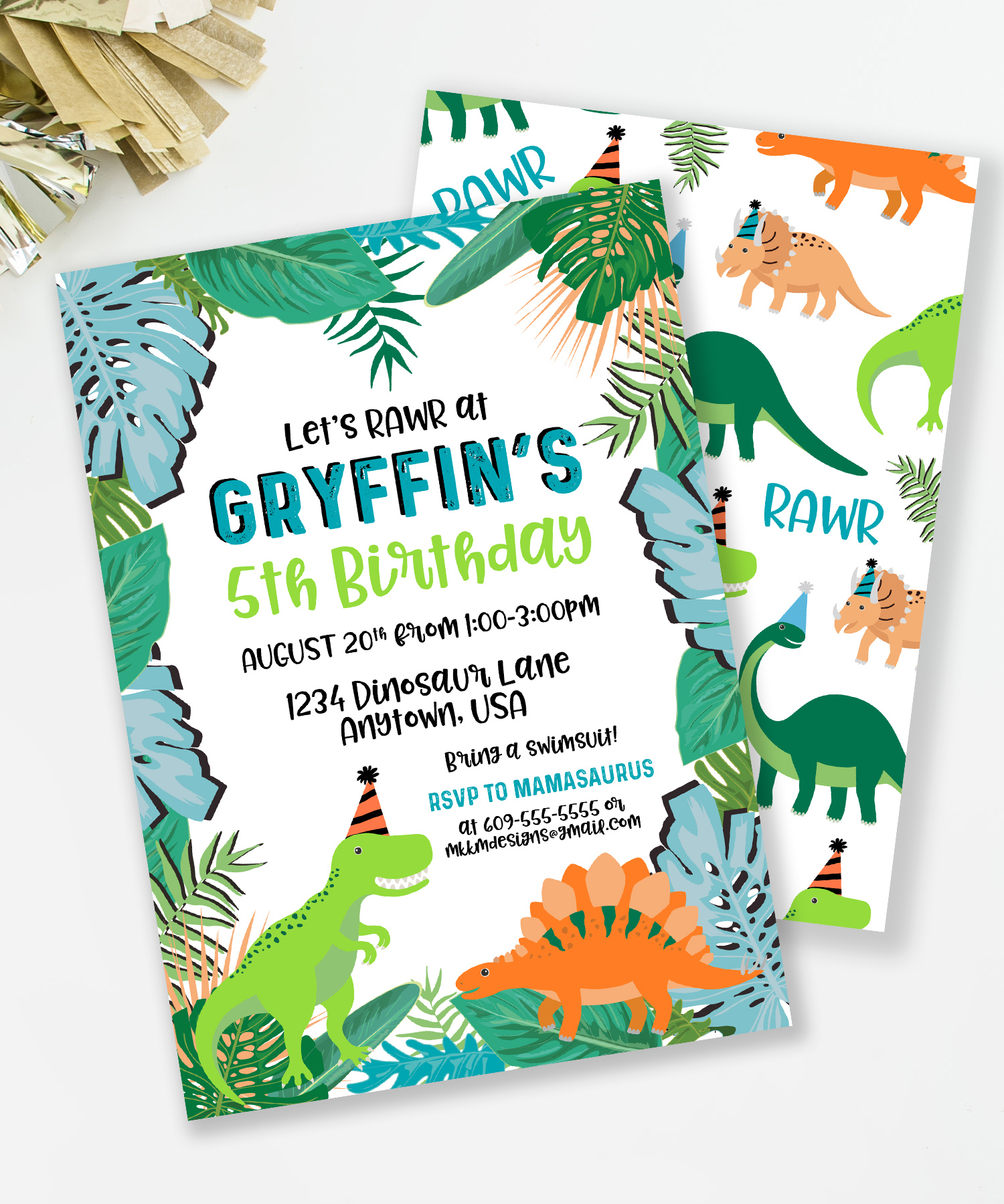 Tropical Dinosaur Party Invitation from MKKMDesigns