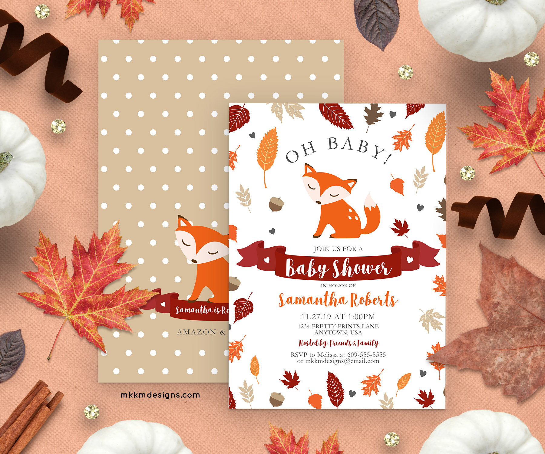 Fox Baby Shower Invitations from mkkmdesigns. These rustic fall themed invites are perfect for a gender neutral baby shower.