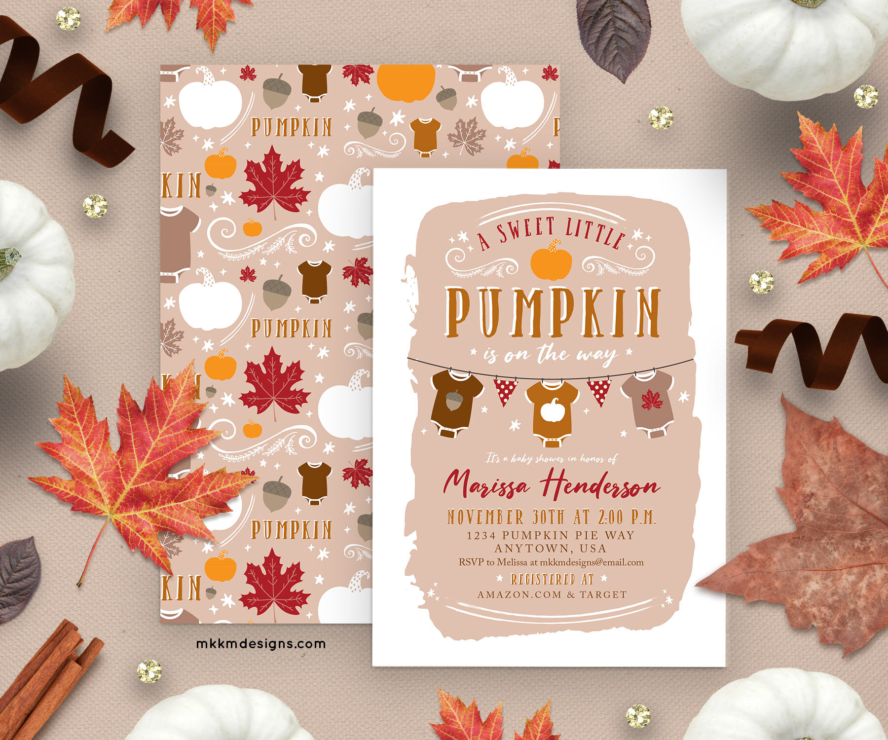Sweet little pumpkin baby shower invitations. This rustic invitation is perfect for a gender neutral baby shower.