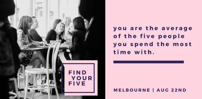 """We believe in the truth of this quote: """" You are the average of the 5 people you spend the most time with""""   So, Find Your Five is our platform that specifically curates powerful connections for female entrepreneurs to meet face-to-face in a mini-mastermind session. It's our revolutionary solution to connect you to a curated group of other like-minded women so that you can have deeper, more meaningful connections to help you grow and succeed in business.  After a successful launch in September 2016, we've matched over 380 women, many of whom have formed powerful, life-long and life-changing friendships.   In a nutshell: You will be placed into a once-off curated peer group of 6. You all discuss one chosen topic, each person is given allocated air-time for one question. It's like a mini-mastermind, but  better since you're all extraordinary women. After that, you can choose to re-connect or join  another group."""