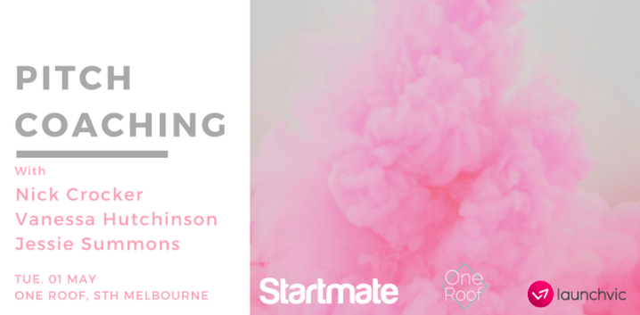 Startmate and OneRoof are collaborating to bring you an intimate pitch coaching workshop for startup founders.  The workshop will be hosted by:  Nick Crocker - Blackbird Ventures partner and Startmate Entrepreneur in Residence    Vanessa Hutchinson - Chief of Staff at Myagi and former investment associate at Rampersand  Jessie Summons - Head of Outreach at Startmate and co-founder of Nightingale Housing