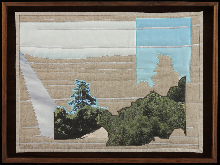 "It Comes Back in Fits and Starts IV , 2014  20""x27"" framed  Quilt: linen canvas, batting, thread, muslin"