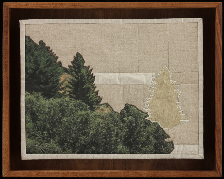 "When I Fish Around I Feel The Haunting, 2014   16.5""x20.5"" framed  Quilt: linen canvas, upholstery fabric, muslin, batting, thread"