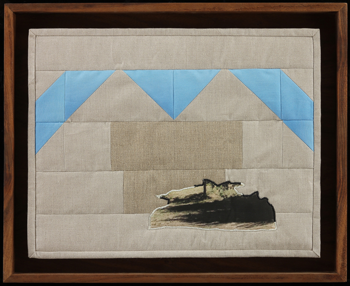"Over There The Shadows Stretch Out , 2014  16.5"" x 21.75""  Quilt: linen canvas, batting, thread, muslin"