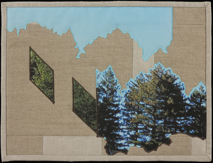 "When I Fish Around I Feel The Haunting V,  2014  16.5"" x 20.5"" framed  Quilt: linen canvas, muslin, batting, thread"