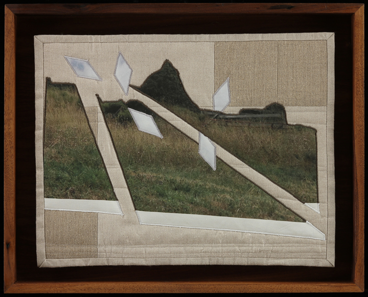 "When I Fish Around I Feel The Haunting VII,  2014  16.5"" x 20.5"" framed  Quilt: linen canvas, muslin, batting, thread"
