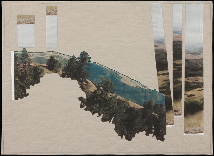 "Reimagining Worlds II , 2014  33"" x45""  Quilt: linen canvas, kona cotton, batting, thread, muslin"