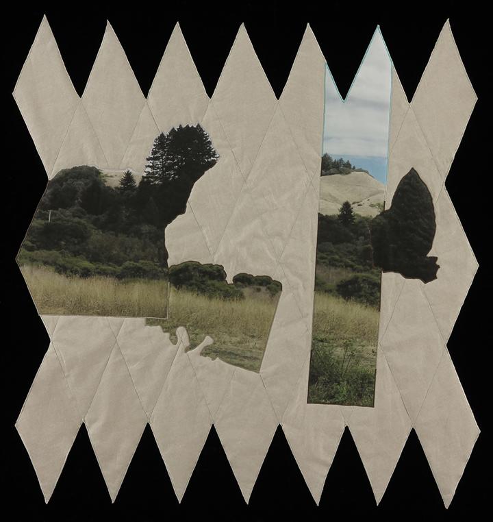 """Shift and It Broke Away,  2014  43""""x41""""  Quilt: linen canvas, batting, thread, muslin"""
