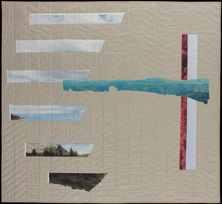 "If You Look Out Far Enough , 2014  62.5""x 68""  Quilt: linen canvas, kona cotton, batting, thread, muslin"