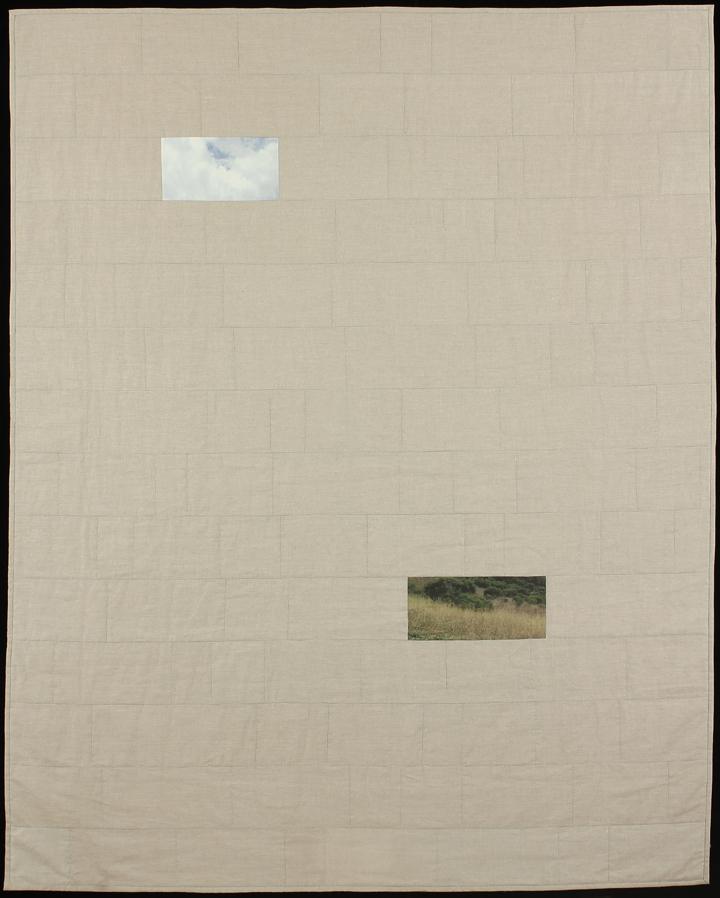 "Sky Over Field, 2013    77""x62""    Quilt: Linen canvas, cotton, batting, thread"