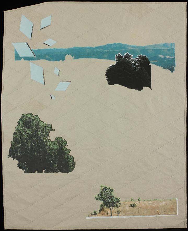 "Reimagining Worlds I , 2013  59""x48""  Quilt: linen canvas, kona cotton, thread, batting,"