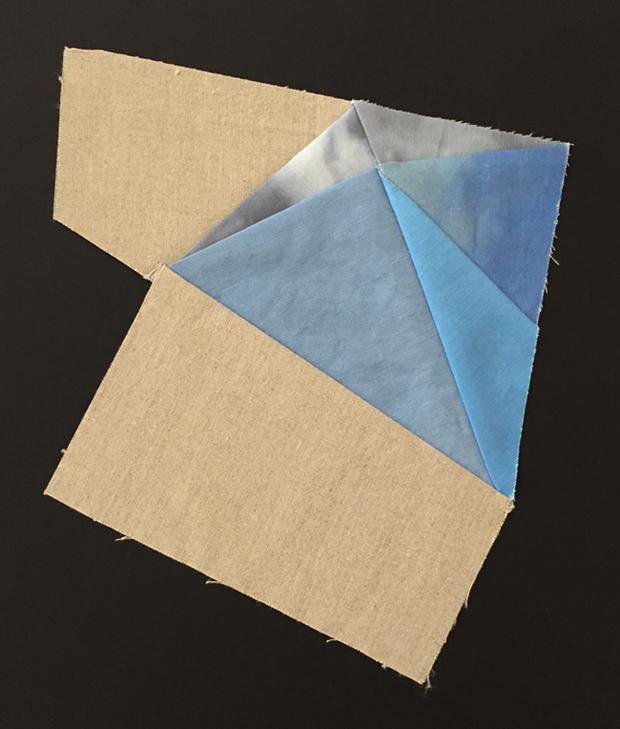 "Untitled Sky Study ,  2015  16""x12"" Framed  linen canvas, thread"