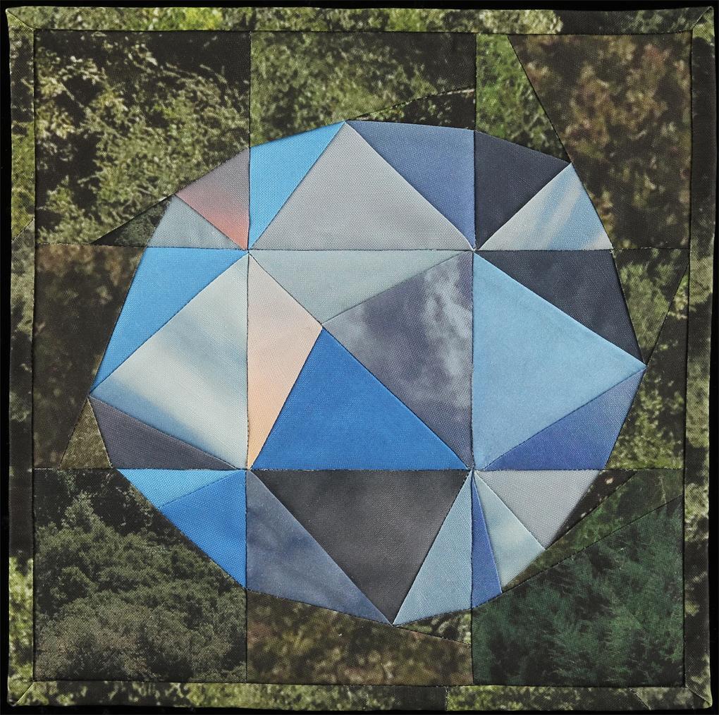 "Sky Orb II, 2016   12.5""x12.5""  Quilt: linen canvas, cotton fabric, batting, thread"