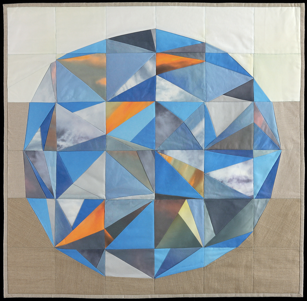 "Sky Orb, 2015    35""x36""    Quilt: linen canvas, thread, batting, cotton fabric"