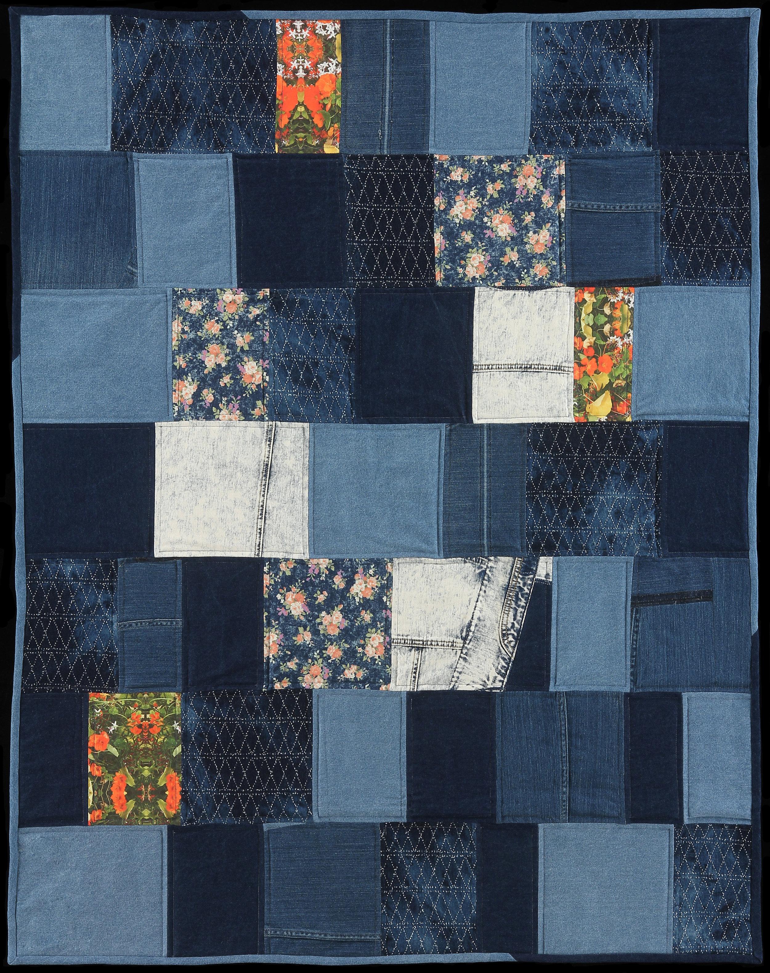 "Coastal Picnic, 2016  52""x42""  Quilt: Denim, photography printed on linen cotton canvas, thread, batting, cotton"