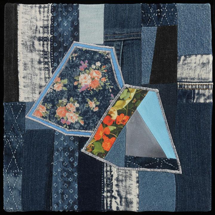 "Coastal Vibes III, 2016  12""x12""  Denim, photography on linen cotton canvas, thread, wood"