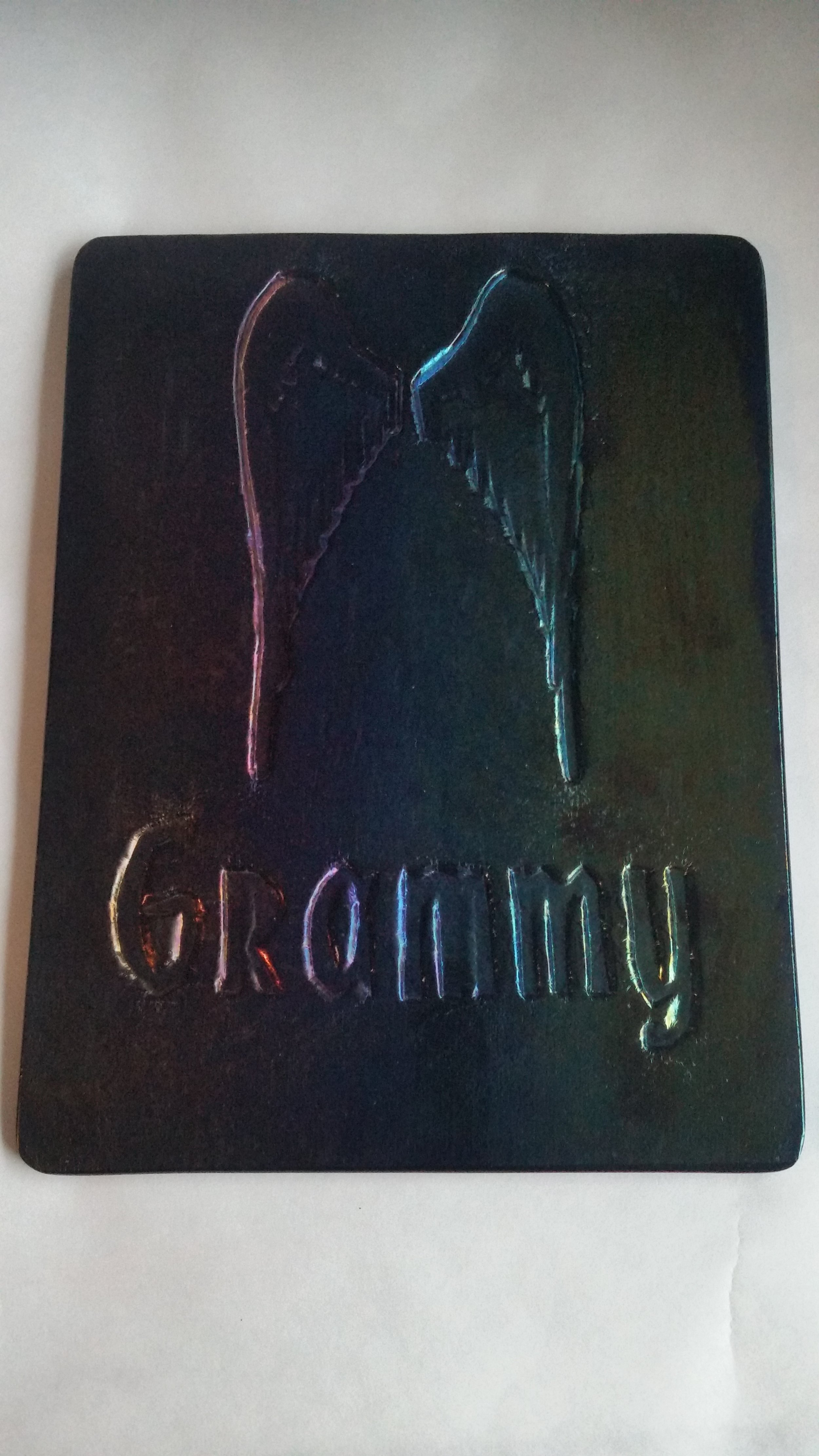"""Custom Remembrance, on Purple Iridized Glass, with """"Grammy"""" sentiment"""