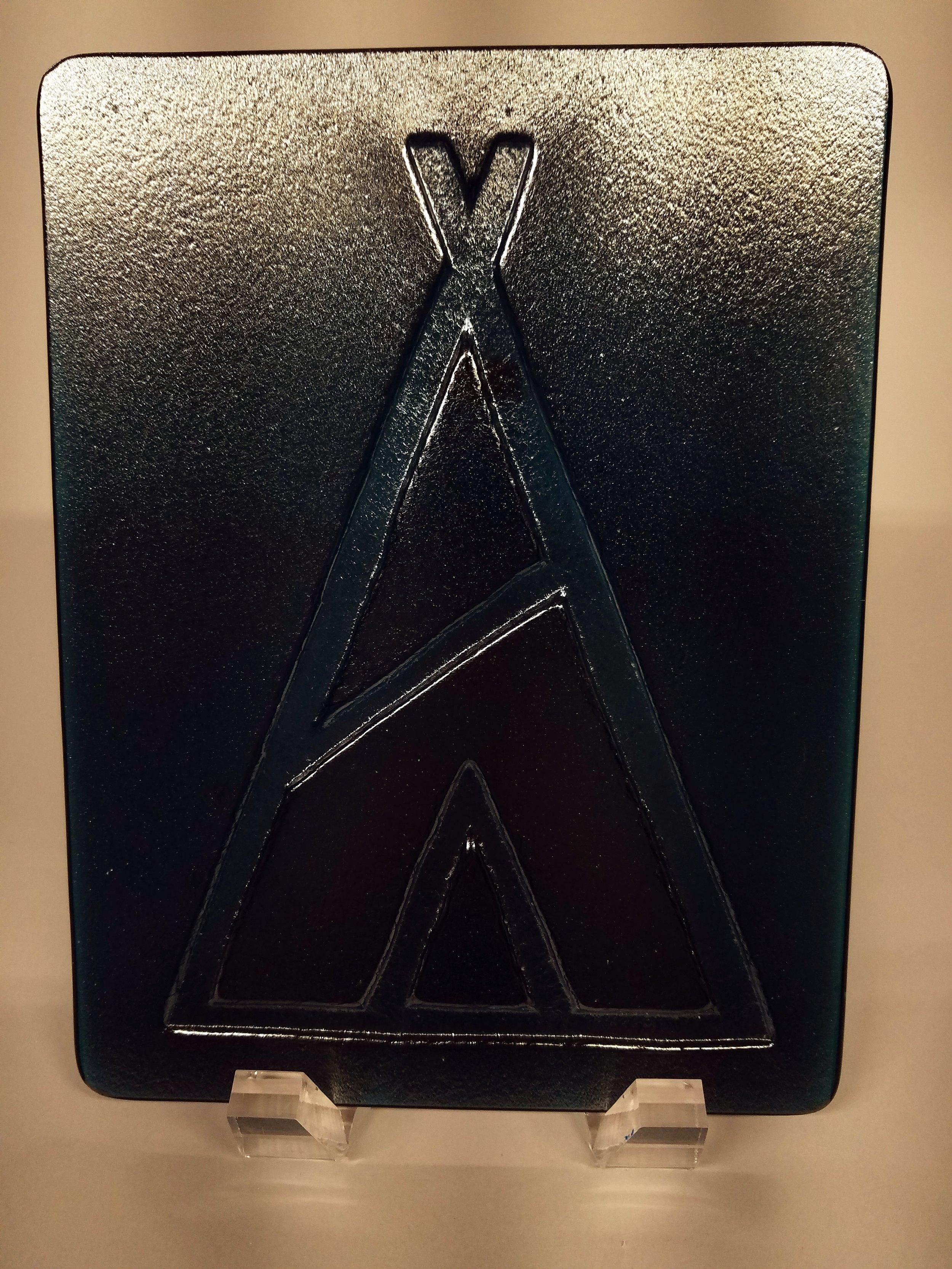 Salon logo for recent opening. Aquamarine glass.