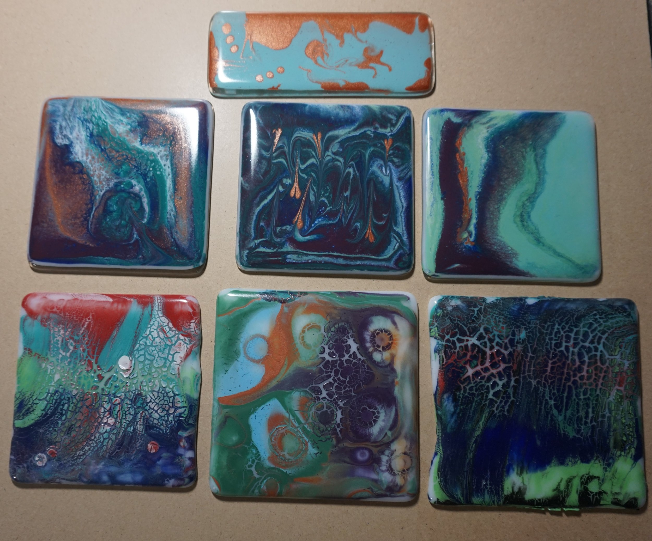 Samples of my painting concepts applied to glass...