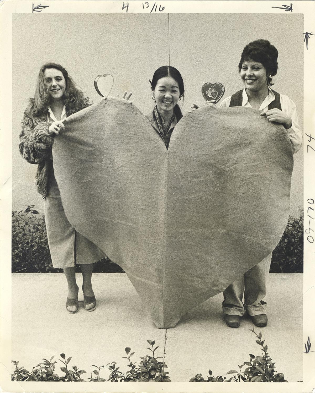 Installation detail   Valentine's Day  Home Fabrics, Newport Beach, California Photographer unknown, 1974