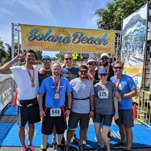 A couple of months of training paid off with a big showing at the Solana Beach Triathlon. Great work team. #solanabeachtri
