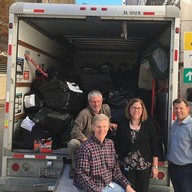 "AT&T filled our truck once again! 10 families were adopted by several groups at AT&T. Here is one of the groups with our full ""sleigh"". #secondwinddallas"