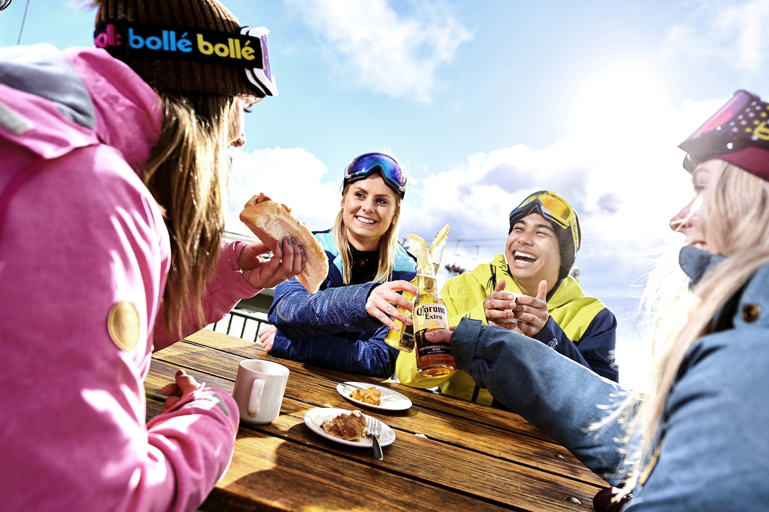 Enjoying a well earned ski break on the deck at Koflers Restaurant Mt Buller.