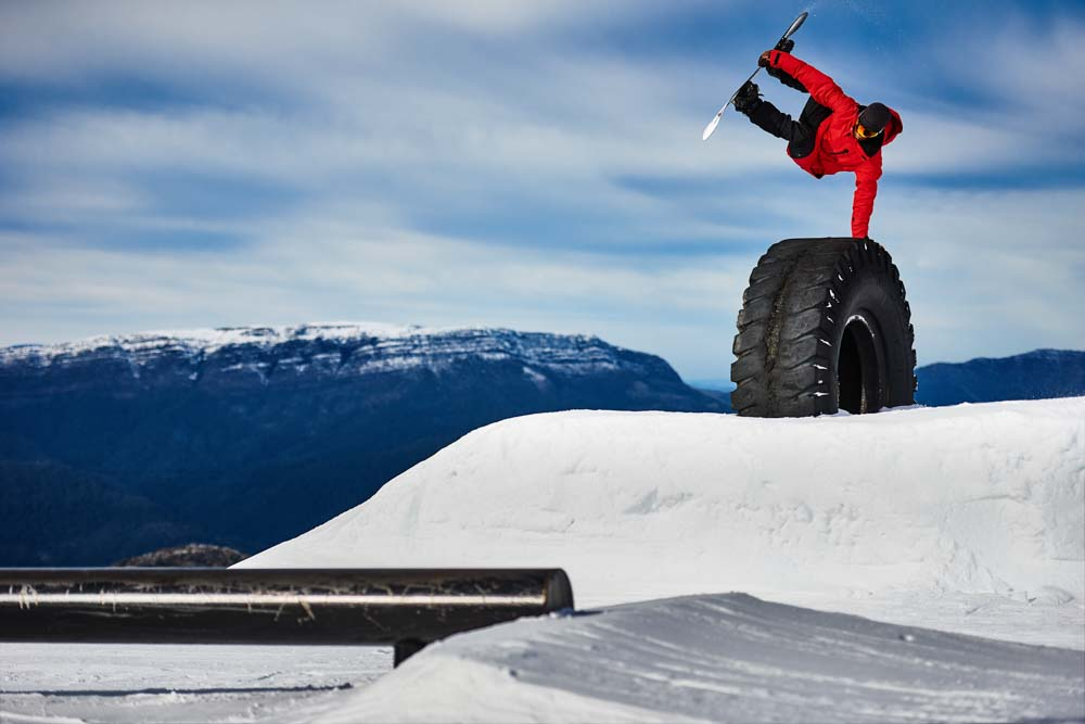 Robbie J Walker plants a nice one in the Skyline Terrain park at Mt Buller.