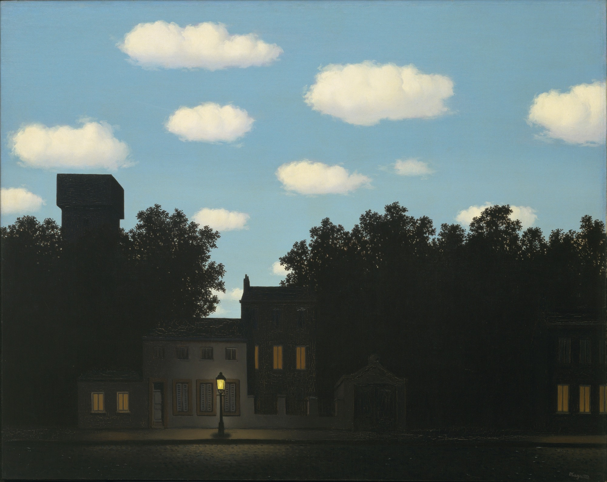 We need to more seriously consider the night economy and culture as much as we do with the day.  |  René Magritte , The Empire of Light, 1950. Oil on Canvas.  ( MoMA Collection )
