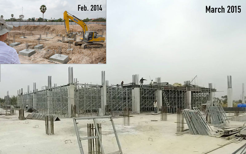 The Nokor Tep hospital site in February 2014 and March 2015. The progress made in the past year has been huge—the basement is enclosed and the first floor has been completed.
