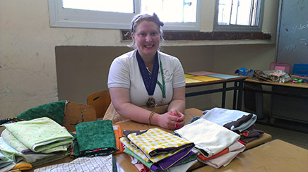 This is Missy's second year as a camp counselor, and this year she came even more prepared, sewing 120 capes to give to campers in addition to preparing lesson plans and activities. She flew to Israel from Maryland, where she is working on a Masters of Library Science degree.