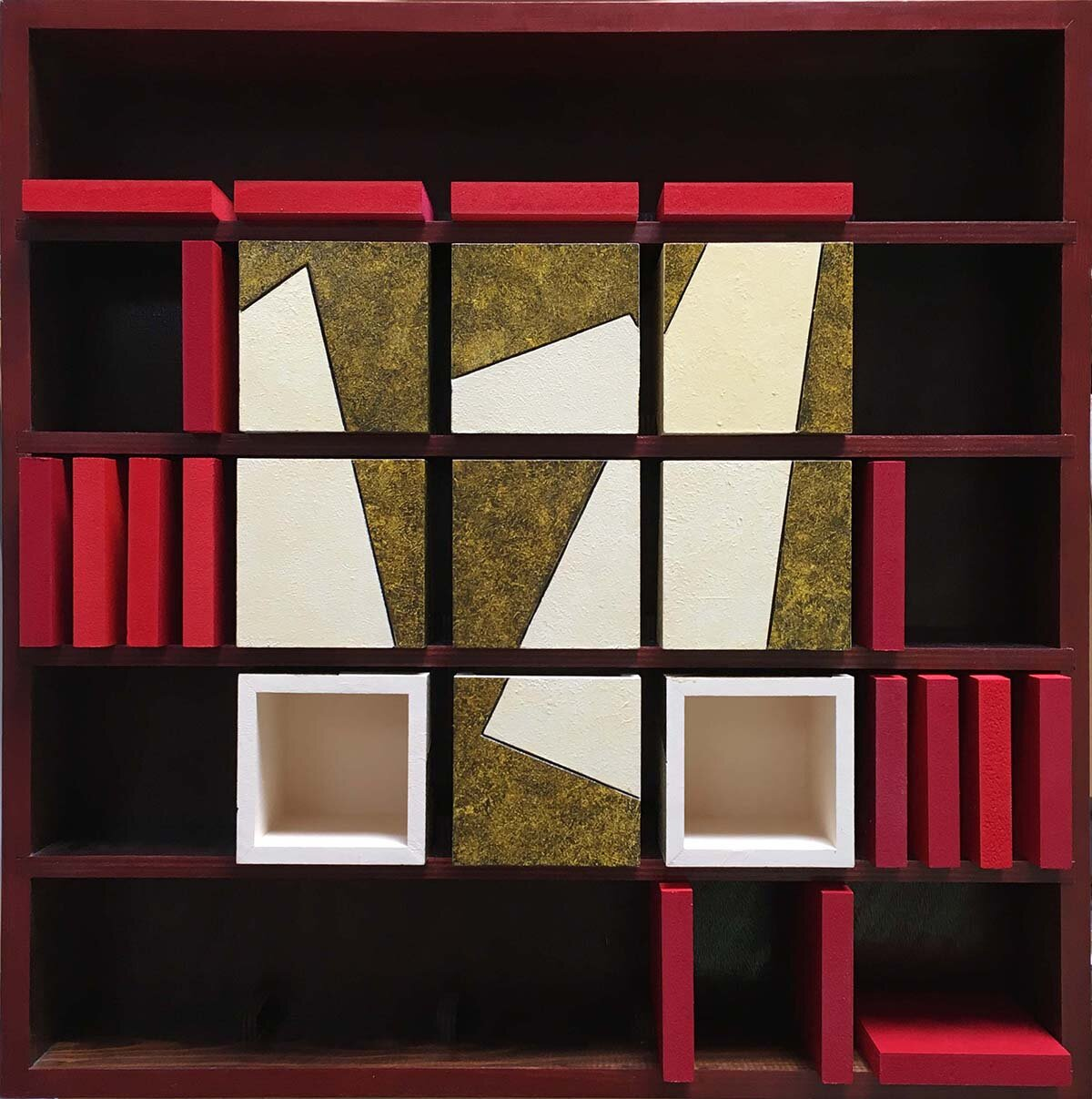 9 open boxes and 17 squares in a 25 position cabinet - size 59 x 59 cm