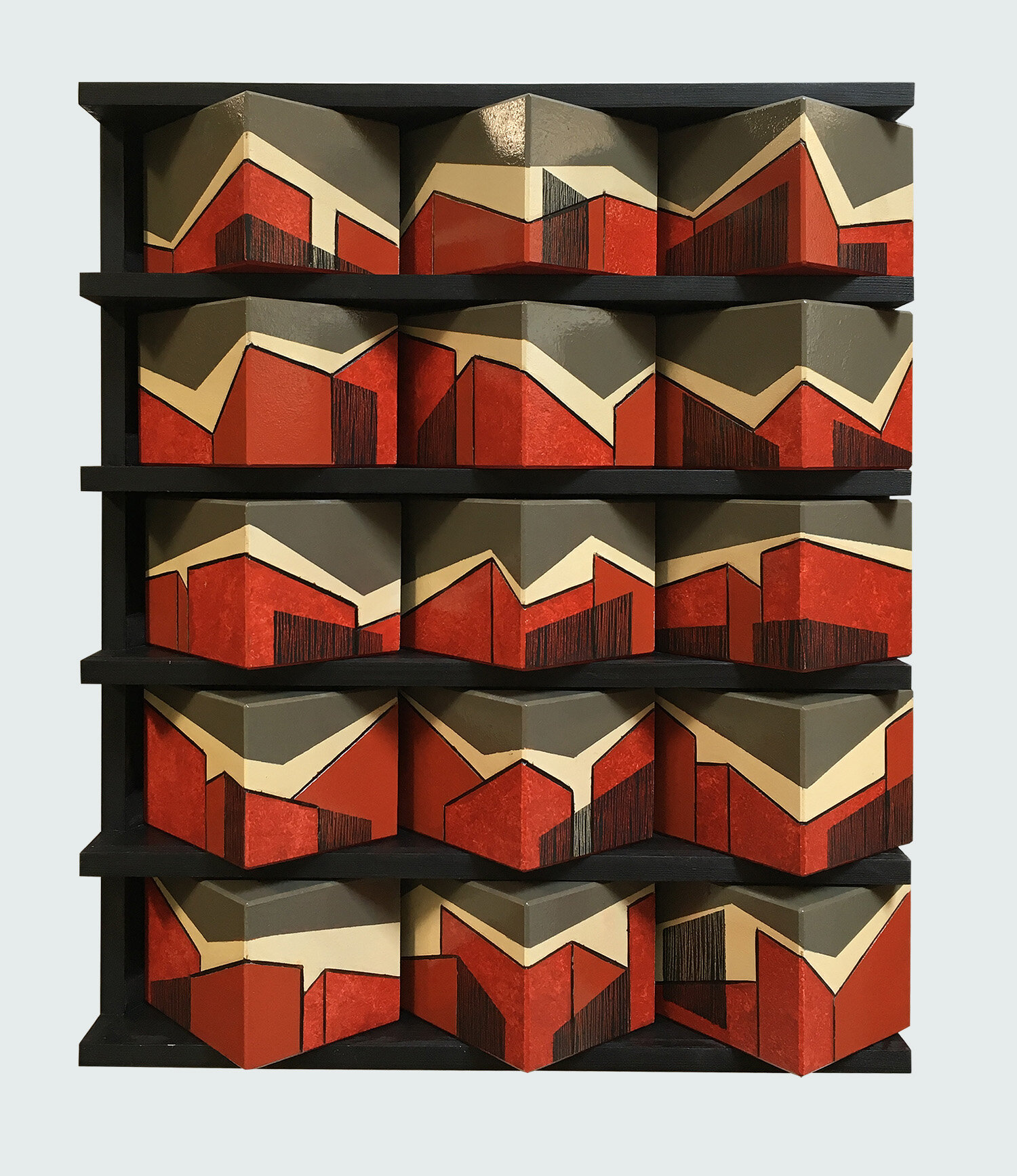 15 open boxes with inlay, in wooden cabinet - size 39,5 x 47 cm