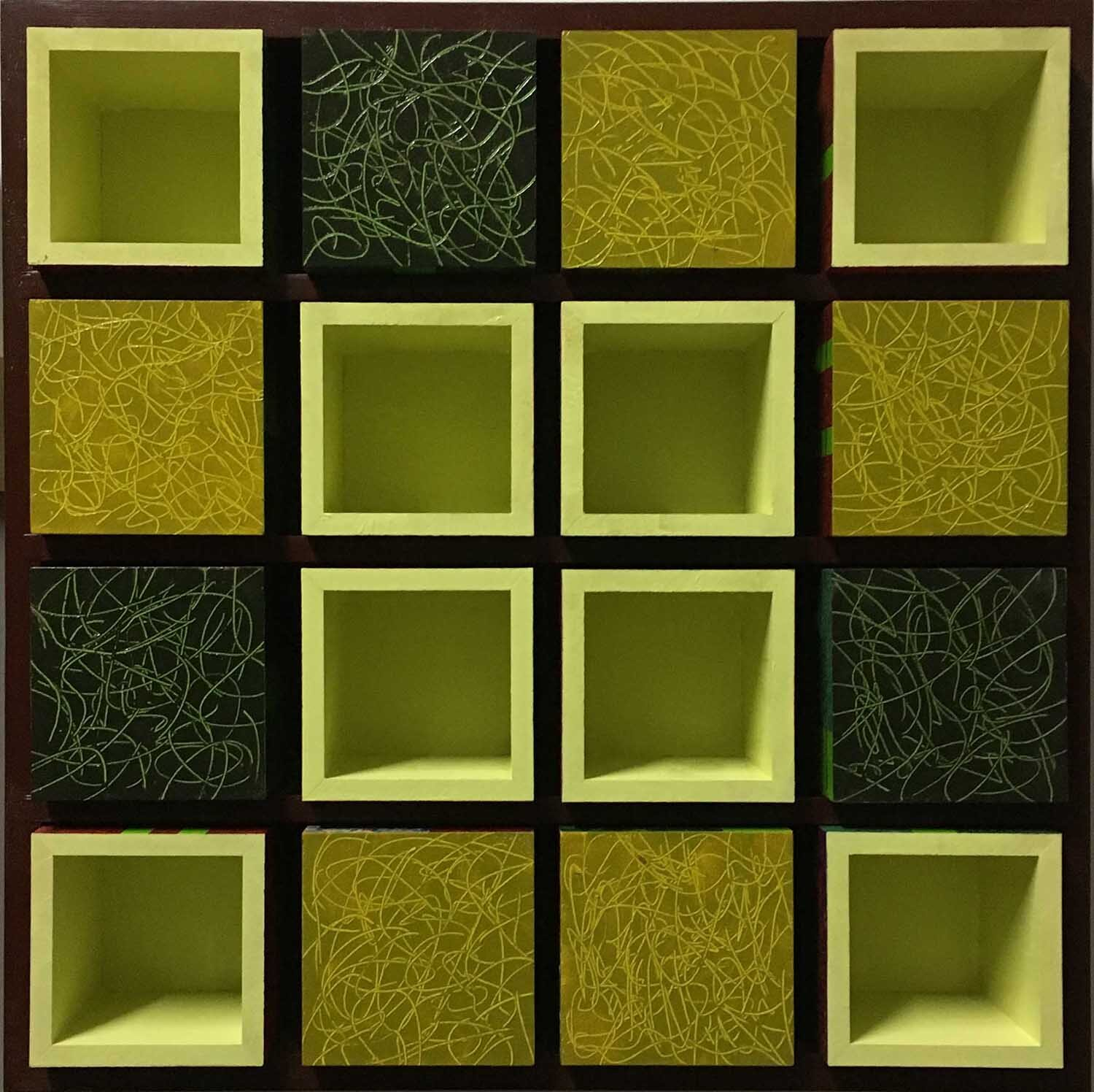 16 open boxes in wooden cabinet - size 48 x 48 cm