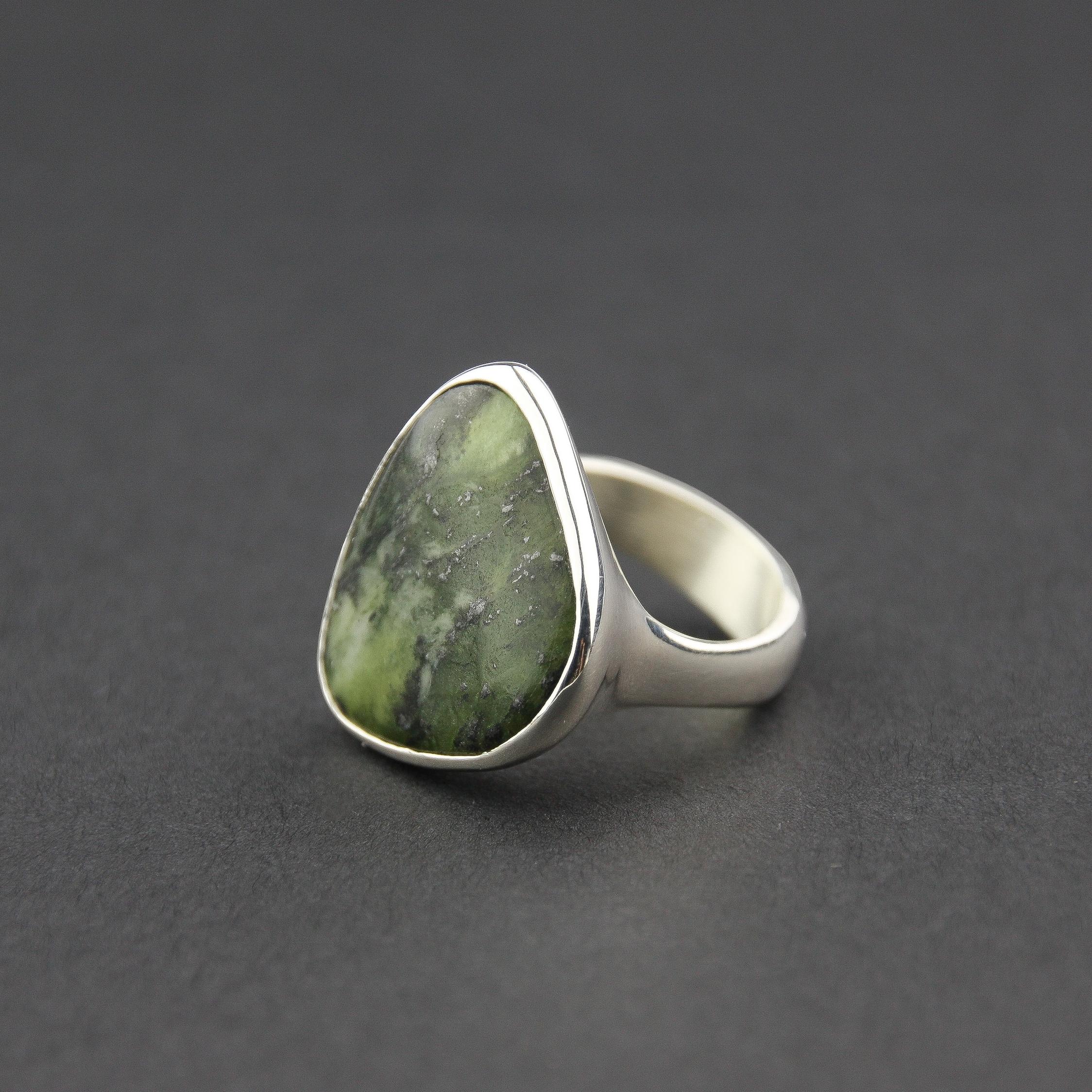 Leonie Simpson Jewellery Canadian Jade stone set ring sterling silver