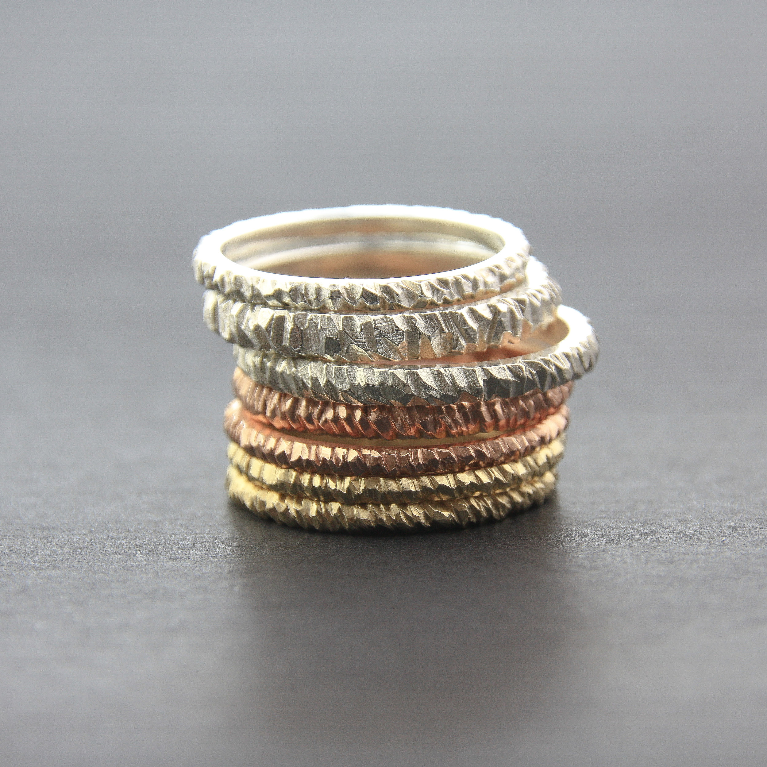 Leonie Simpson Jewellery Mini Facet Ring stack sterling silver rose gold yellow gold