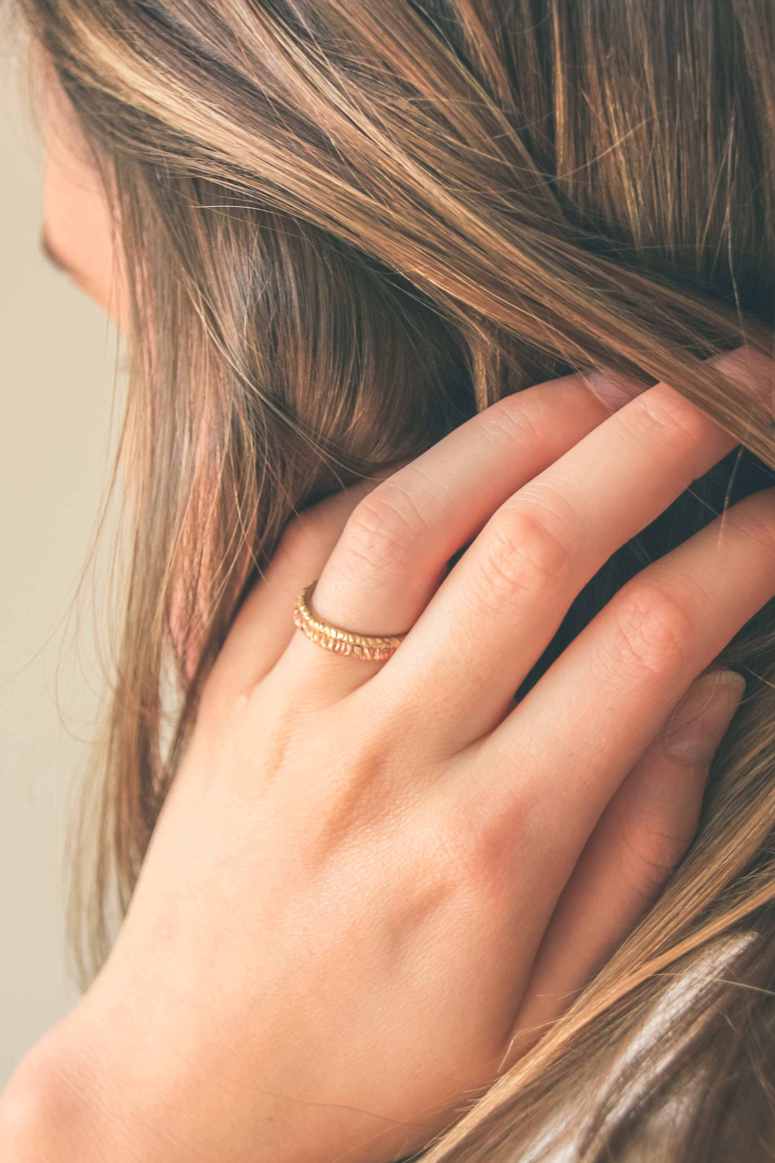 Leonie Simpson Jewellery Mini Facet Ring 2mm Yellow Gold Rose Gold